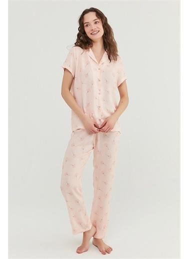 Penti Açık Pembe İxia Flowers Gömlek Pantolon Takımı Pembe